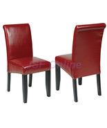 Crimson Red ECO Leather Parsons Dining Chairs w/Nail Head Trim Accent Wo... - $92.00