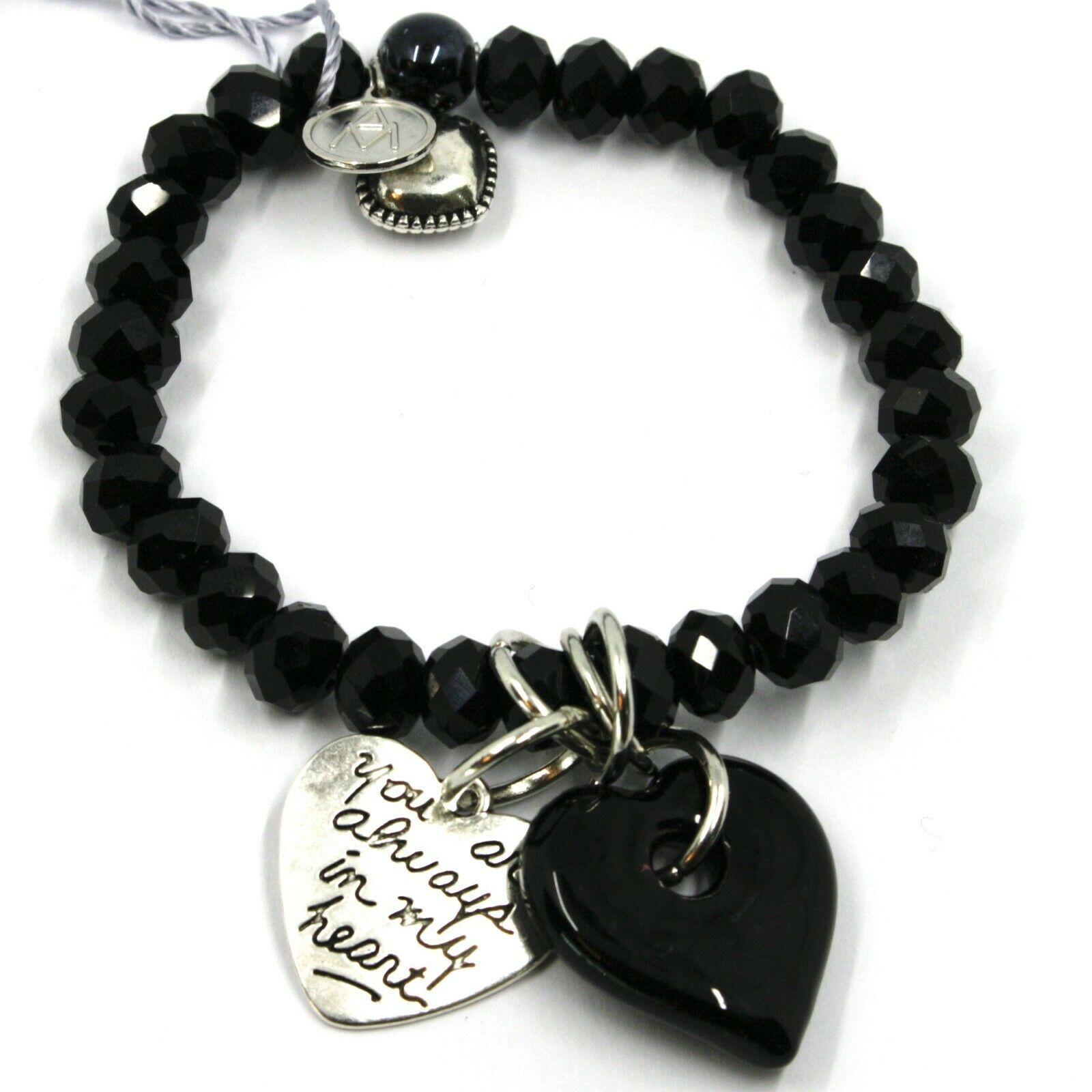 Elastic Bracelet Antica Murrina Venezia, BR844A14, Double Heart Glass Black