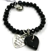 Elastic Bracelet Antica Murrina Venezia, BR844A14, Double Heart Glass Black image 1