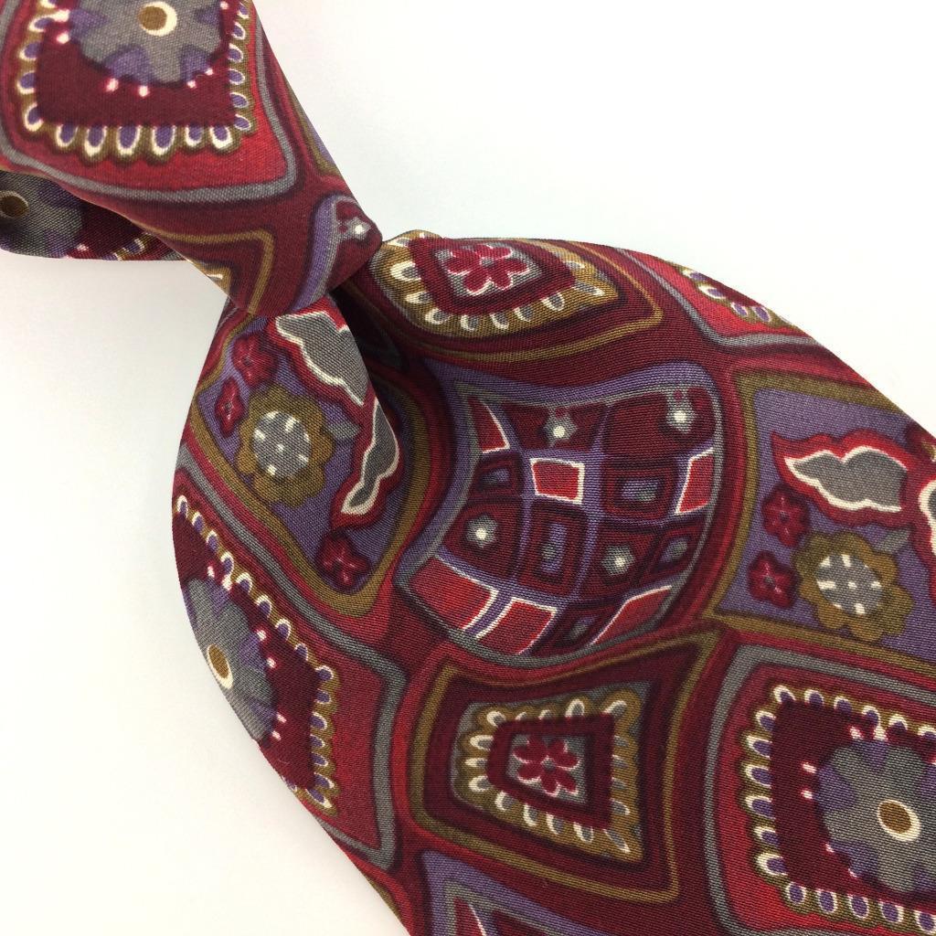 414cd732c7f6 GEOFFREY BEENE MADE IN ITALY TIE FLORAL Red/Maroon Gray Silk Necktie Ties  I9-286