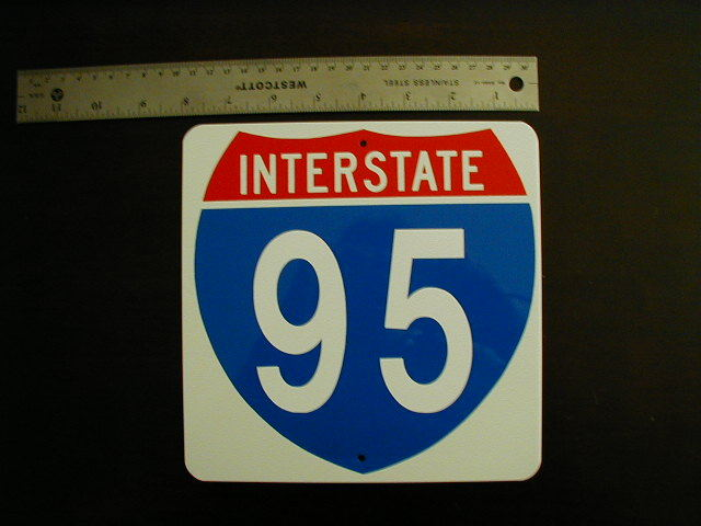 MINI MINIATURE INTERSTATE TRAFFIC SIGNS METAL 8""