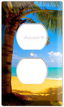 EXOTIC PALM TREE ON A PARADISE SANDY FIJI BEACH POWER 2 OUTLET WALL PLAT... - $8.99