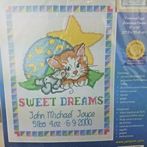 2001 Janlynn Stamped Cross Stitch Kit 56-129 SWEET DREAMS Baby Announcement - $12.16