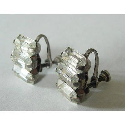 VINTAGE STERLING & RHINESTONES EARRINGS CHANNEL SET