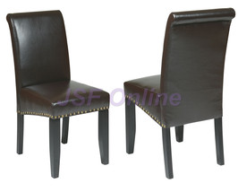ESPRESSO ECO Leather Parsons Side Dining Chairs w/Nail Head Trim Accent ... - $92.00