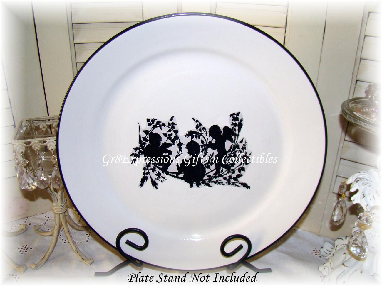 Victorian-Shabby Decorative Cherubs Silhouette Plate