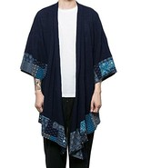 JINIDU Men's Cotton Cardigan Kimono Style Vintage Poncho Cloak Open Fron... - $26.93