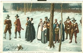 The Pilgrims going to Church, by George H. Boughton, 1925 used Postcard  - $5.99