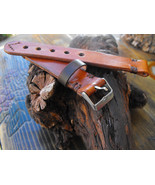 22mm leather watch strap hand made strap antique color watch band - $21.94