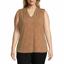 Worthington Women's Sleeveless Pleat Neck Blouse Size 3X Toffee Maze Geo... - $26.72
