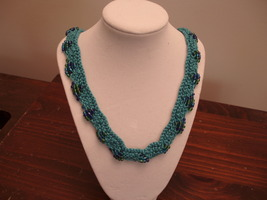 Scallop Edge Beaded Necklace Knit blue beaded free shipping - $25.00