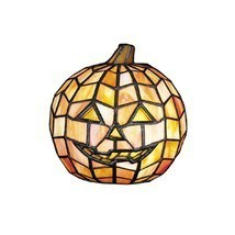 HALLOWEEN PUMPKIN JACK-O-LANTERN TIFFANY STAINED GLASS LAMP(NEW) - $199.95