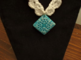 Necklace crocheted carved bone pendant blue free shipping - $25.00