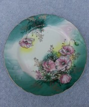"Lefton Luncheon Plate #5388 LEF100 Pink Poppies on Green Shade Gold Gilt 9"" - $11.88"