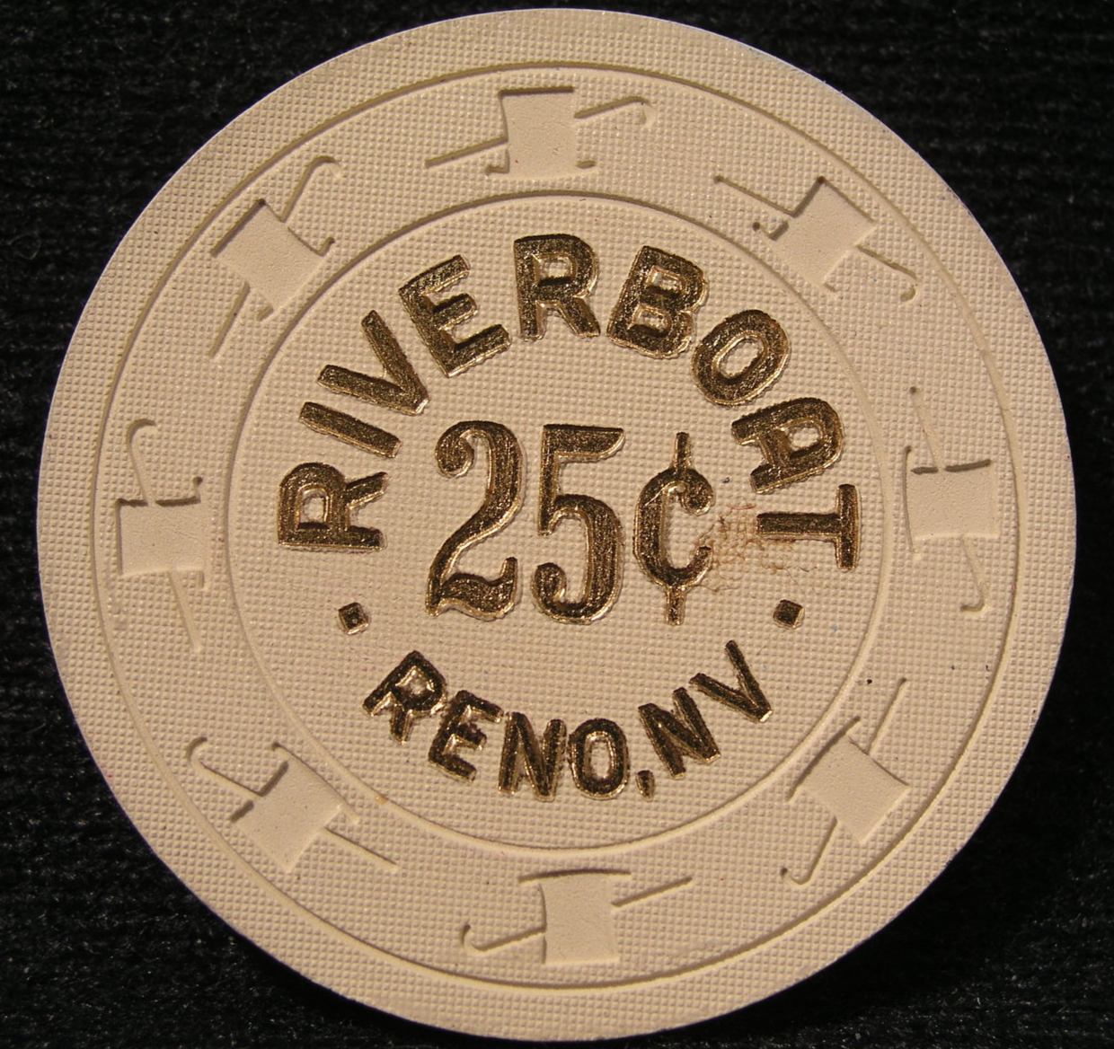 "Primary image for $0.25 Casino Chip From: ""Riverboat Hotel & Casino""- (sku#2392)"