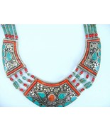 Southwestern Style Turquoise with Red Coral Collar Necklace Traditional Bib - $287.00