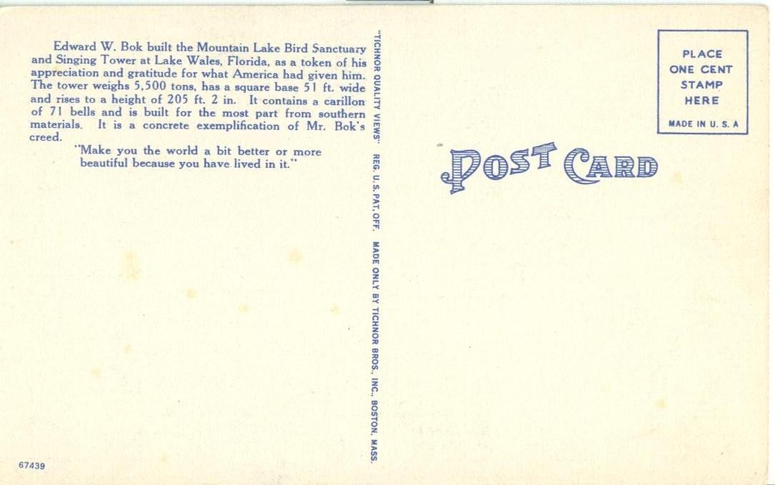 The Singing Tower, Lake Wales, Florida, unused linen Postcard