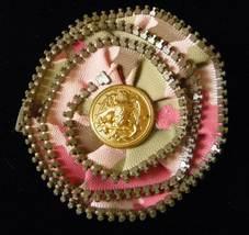 Handmade Pink Camoflage Zipper Statement Pin with Dress Uniform Button - $12.00