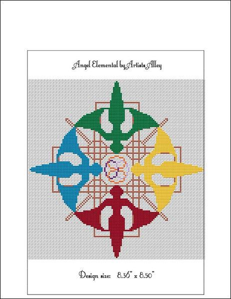 Elemental Angels cross stitch card chart Artist's Alley