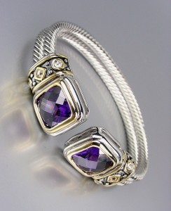 *NEW* Designer Style Purple Amethyt Crystals Silver Double Cable Cuff Bracelet