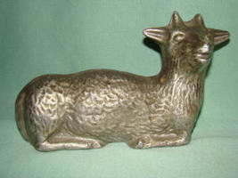 Solid Pewter Laying Lamb Statue Decoration Easter - $45.00