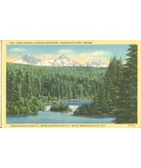 Three Sisters, looking Southeast from Scotts Lake, Oregon, used linen Po... - $4.99