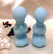 3165 Vintage Fenton Praying Blue Satin Boy N Girl Set - $23.50