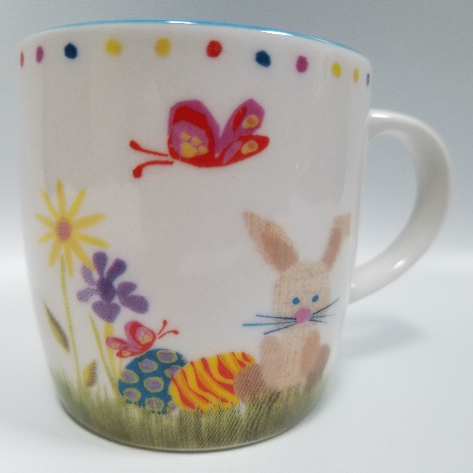2007 Easter Eggs and Bunny& Butterflies & Colorful Flowers Starbucks Coffee Mug