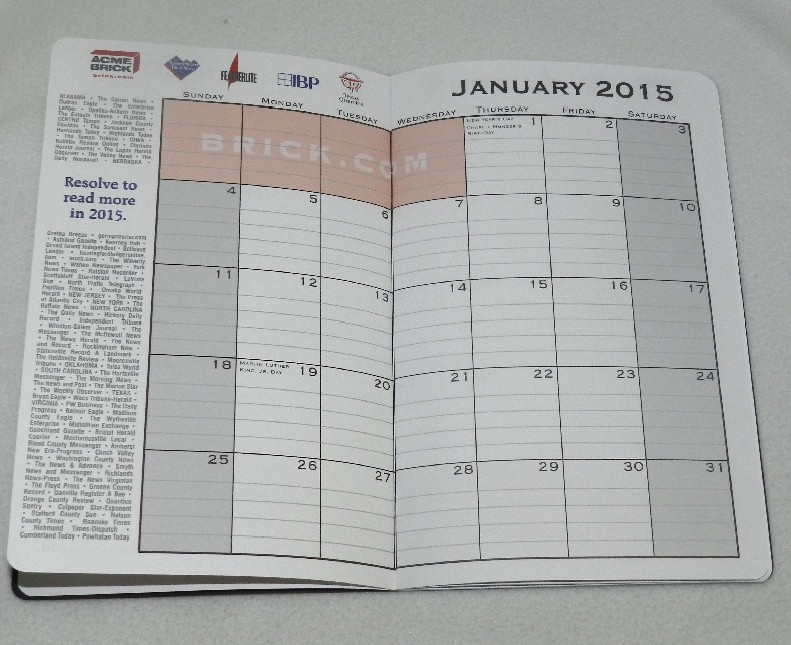 2015 MONTHLY PLANNER from Berkshire Hathaway Meeting in Omaha, NE  5/3/2014