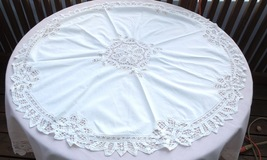 """35"""" Round Vintage Tape Lace and Cutwork Tablecloth #4952 - $44.99"""