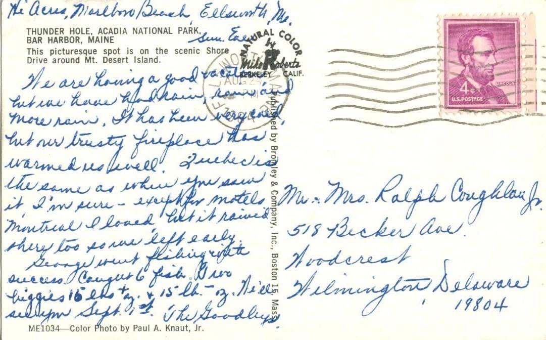 Thunder Hole, Acadia National Park, Bar Harbor, Maine, 1964 used Postcard