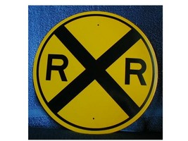 "12"" Reflective Round R.R. Crossing Sign - $11.00"