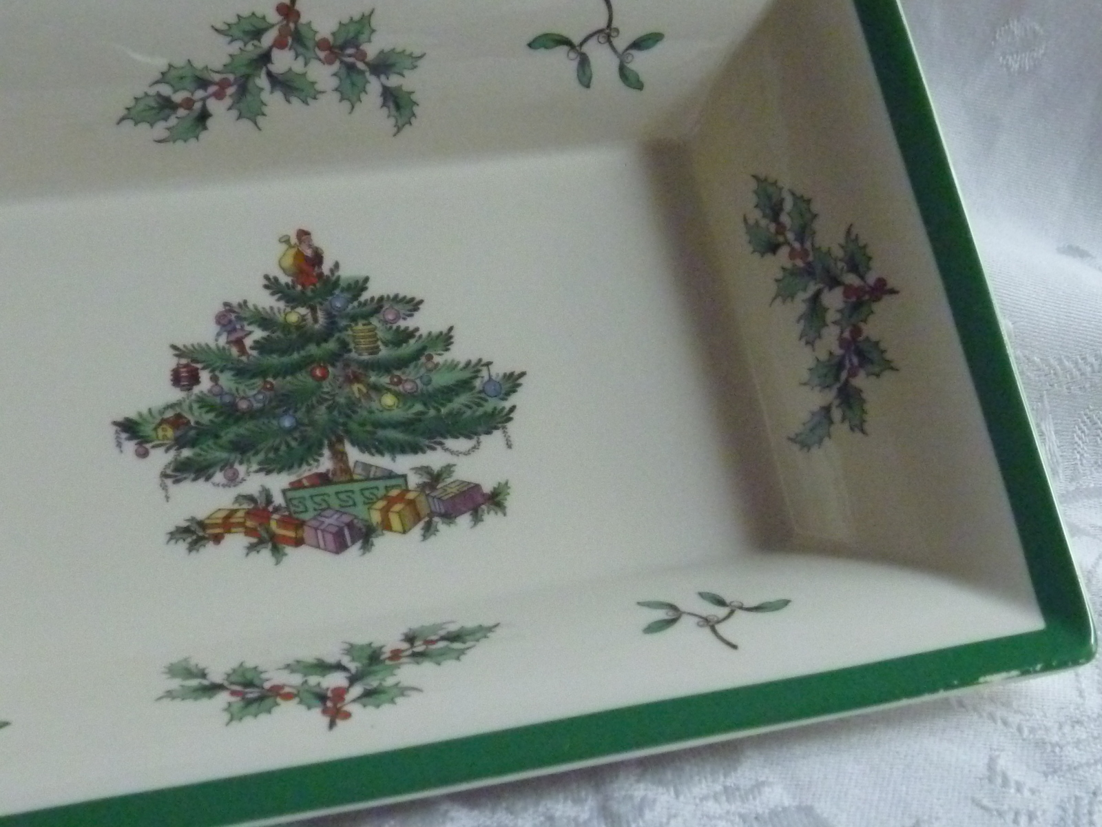 Spode christmas tree rectangular oblong serving candy dish