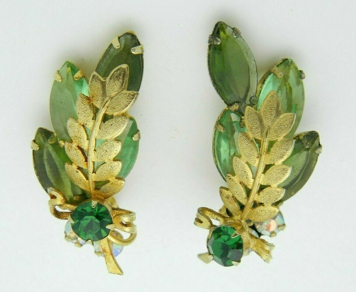 Primary image for Juliana Green Rhinestone Leaf Gold Tone Clip Earrings Vintage
