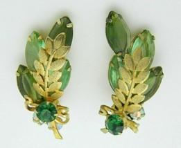 Juliana Green Rhinestone Leaf Gold Tone Clip Earrings Vintage - $49.50