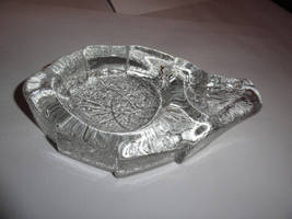 Details about   clear glass ashtray in shape of tobacco leaf preowned - $95.00
