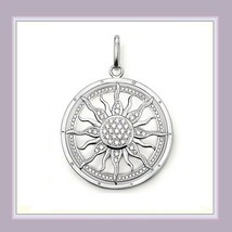 Round 18k Gold Plated Sun Astro Wheel Pendant with Encircled Pave Crystals image 2