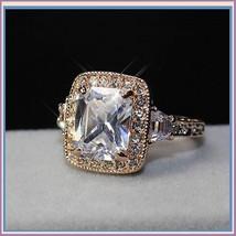 Square Cushion Cut Encircled Swarovski Crystals in 18k Rose Gold Plated Ring