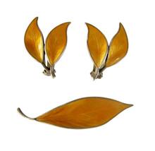Vintage David Andersen Sterling Silver Marigold Enamel Leaf Earring & Br... - $85.00