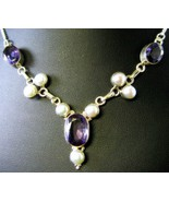 Red to Purple Color Change Oval with Pearls Ste... - $169.92