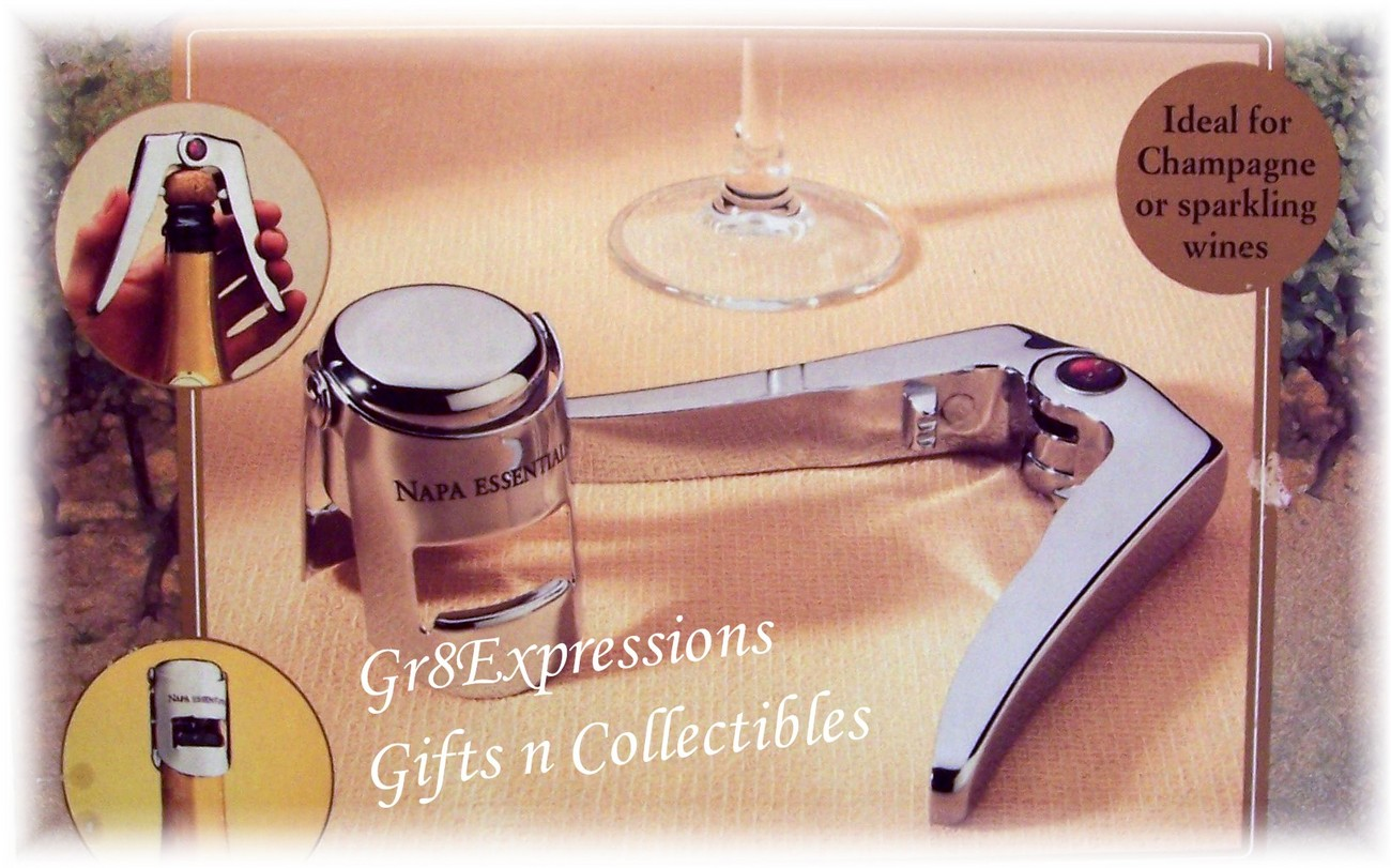 CHAMPAGNE LOVERS GIFT SET~CHROME-PLATED~NAPA ESSENTIALS