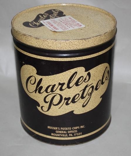 Charles Chips Pretzels Musser's Vintage Decor Tin