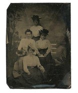 Victorian Women Antique Tintype Photo Fashion Hats Lesbian Historical In... - $124.99