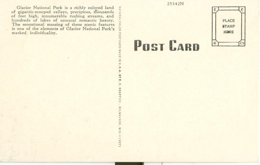 Trick Falls, Glacier National Park, Montana, 1920s unused Postcard