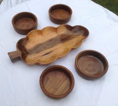 Free ship wood round bowl set & serving tray 4 ... - $28.00