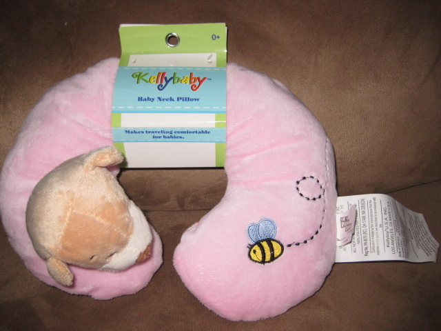 Primary image for BABY NECK PILLOW DOG PINK Brand New Plush NWT Stuffed Animal With Tags 11""