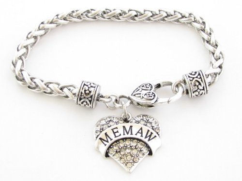 Primary image for Memaw Clear Crystal Heart Silver Lobster Claw Bracelet Jewelry Family Gift
