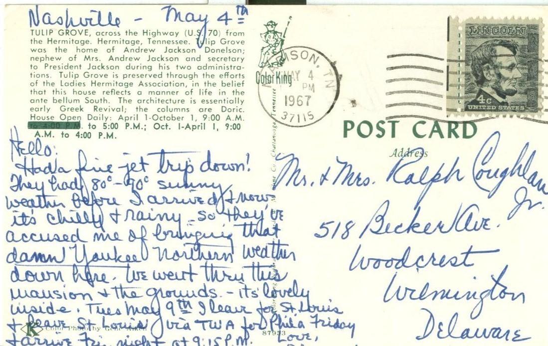 Tulip Grove, Hermitage, Tennessee, 1967 used Postcard