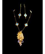 Vintage Cherub tassel Necklace brooch set - Chandelier earrings - opalite stones - $195.00