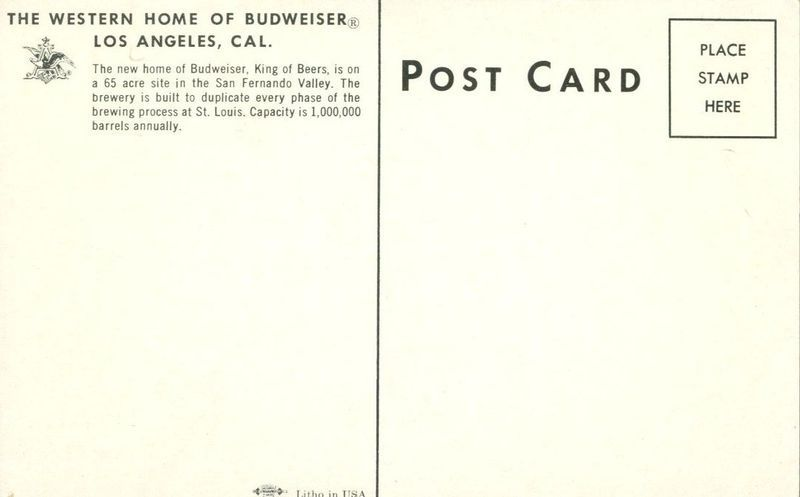 The Western Home of Budweiser, Los Angeles, California, unused Postcard